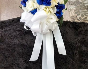 Ivory and royal blue wedding bouquet. Other colors available.