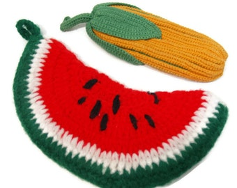 Homemade watermelon and corn potholders // crocheted knit collectables // instant collection
