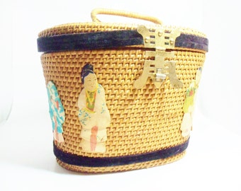 Tea Basket or Purse Asian Inspired Its In The Bag by Ritter, Made in Hong Kong, or Sewing Basket, Mid Century Unique