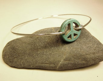 Turquoise Peace stackable wire bangle bracelet