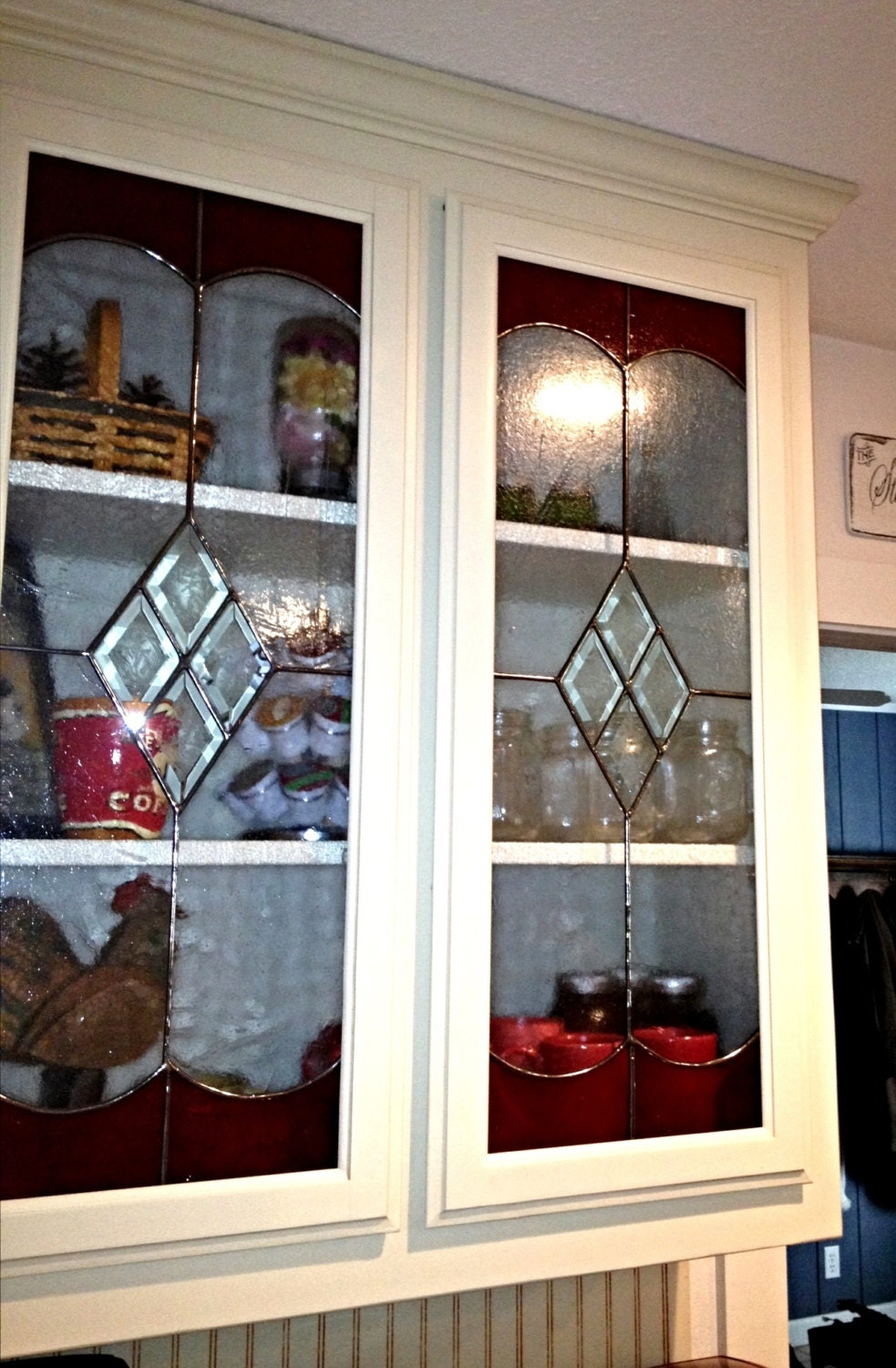 Stained glass kitchen cabinet inserts by stainedglassroxannek for Beveled glass kitchen cabinets