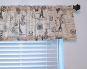 Top Window Treatment French Stamp  Eiffel Tower Charcoal Natural  Curtain Valance Custom Sizing Available!