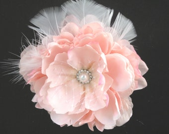 Pink Bridal Flower Hair  Clip Wedding Hair Clip  Wedding Accessory Peony Hair Clip Bridal Accessory