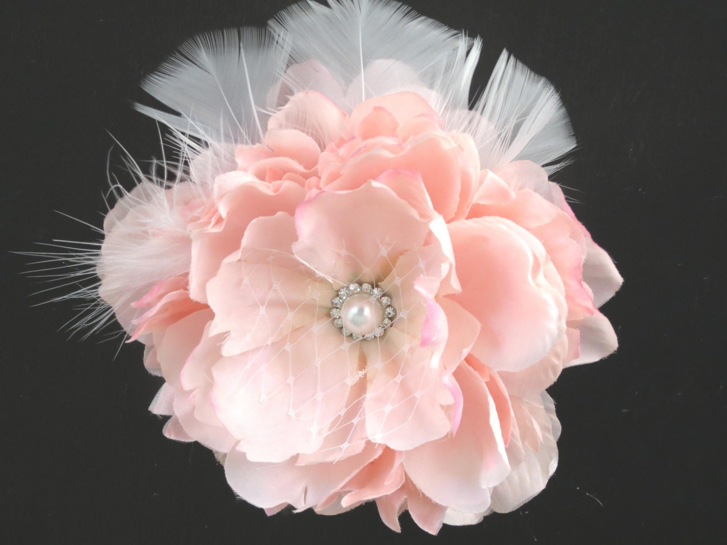 Wedding Hair Flowers Pink : Pink bridal flower hair clip wedding