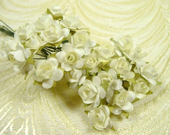 Paper Roses Handmade Flowers Bunch of 24 Ivory Cream Small for Crafts, Scrapbooking, Party Favors, Decorations