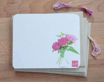 Personalized Stationary with Pink Peonies, Stationery Gift, Stationary Cards with Flowers