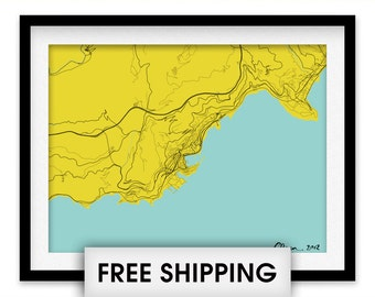 Monaco Map Print - Choose your color