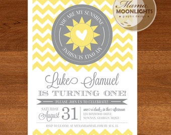 You Are My Sunshine Birthday Party Printable Invitation - DIY - Yellow Gray / Grey  - Chevron Stripes, Heart - First Birthday Invite