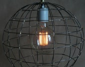 Handmade hanging light, rustic wire sphere pendant light with Edison bulb and cotton covered wire.