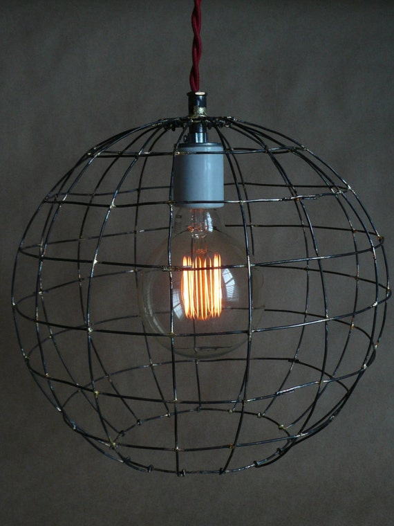 Handmade hanging light rustic wire sphere pendant light with