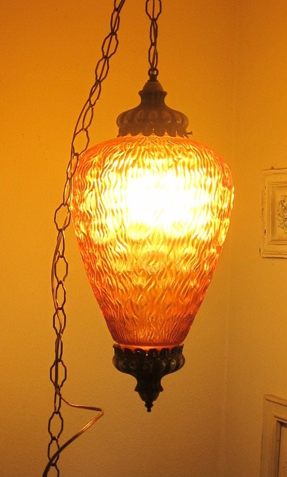 Mid Century Modern Swag Lamp Amber Glass Groovy Design Large