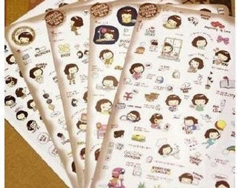 5 Sheets Korea Diary Stickers Set - Korea cute cooky's HelloDay girl sticker
