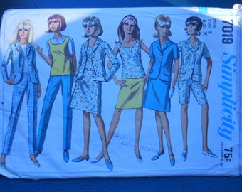 Simplicity 7019 -  Pant Suit - Sewing Supply - Pattern Patter - Womens Sewing - Mad Men Style - Sewing Needlecraft
