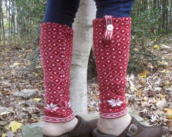 Upcycled, Recycled, Refashioned, Repurposed Snowflake Red Leg Warmers