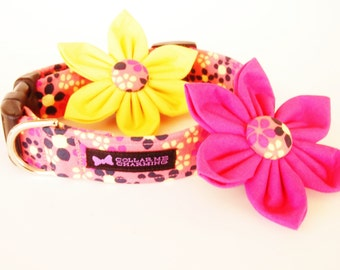 Yellow Pink Dog Collar Flower Set Fiona