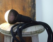 Lampe, crocheted black plug in pendant with 4 meters cord