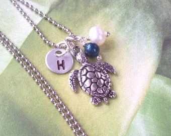 Sea Turtle Necklace, Silver Tropical Necklace , Personalized Necklace, stainless steel, hypo allergenic, stamped, pearls, summer