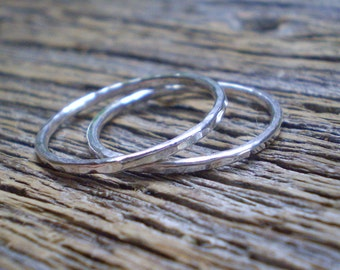 Hammered sterling silver stacking rings set of 2 - your choice of polished or blackened silver