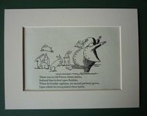 1950 Vintage Edward Lear Print - Rabbit - Nonsense Rhyme - Victorian Poetry - Poem - Limerick - Vintage Print - Rabbit Print - Meat Eater