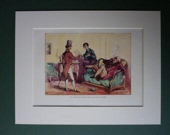 Vintage William Makepeace Thackery Print From The Memoirs Of Mr Charles J Yellowplush - Cigar Smoking - Victorian Art Print - Mr Deuceace