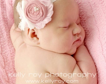 Baby Photo Prop Pink White  Antique Pink  Headband /Newborn Baby Girl Pink Chiffon and Rosette headband