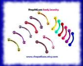 """16 Gauge 3/8"""" Anodized Titanium Curved Barbell Eyebrow Ring- Single Item"""