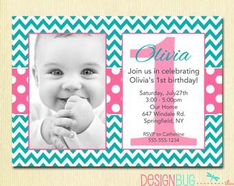 girls birthday party photo invitation printable chevron, invitation samples