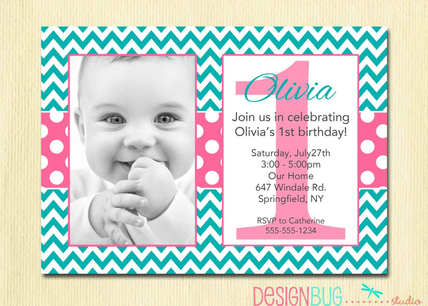 Chevron and Polka Dots Girls Birthday Invitation 1 2 – 3 Year Old Birthday Invitation