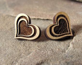 Heart Post Earrings Sustainable Alder Wood Jewelry