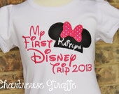 """Personalized """"My First Disney Trip"""" Minnie Mouse Shirt. Disney Vacation Shirt. Pink and white polka dot"""