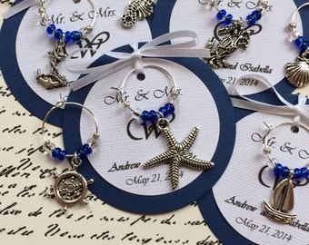 5-45 Custom Nautical Themed Wine Charm Favors - Weddings, Bridal Shower, Rehearsal Dinner, Anniversary, Birthday Party or Special Event