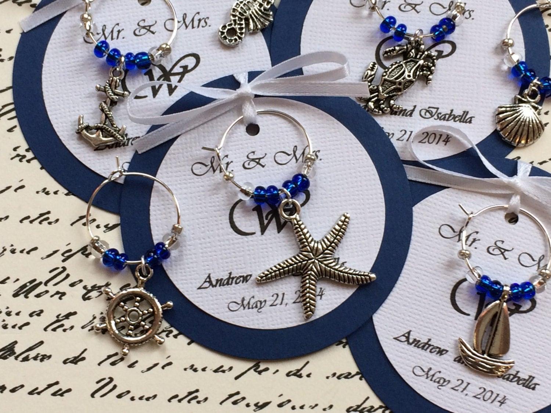 custom nautical themed wine charm favors weddings bridal