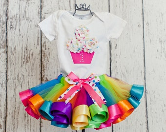 Baby Girl 1st Birthday Outfit Sweet Shop Rainbow-Shirt w/ 3D Cupcake, Rhinestone Age Number & Rainbow Ribbon Trim Tutu Skirt and Headband