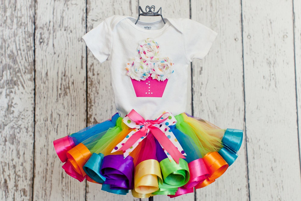 Baby Girl 1st Birthday Outfit Sweet Shop Rainbow Shirt W 3d
