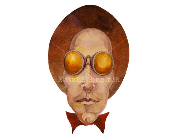 Steampunk retro man portrait in top hat digital download from original watercolor avatar or tshirt design