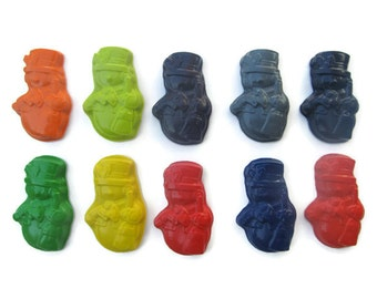 Snowman Crayons set of 10 - Christmas Crayons - Snowman Crayons - Party Favors - Stocking Stuffers