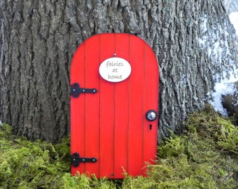 Fairy Door red fairy garden miniature with your choice of sign - fairy accessories - terrarium accessory
