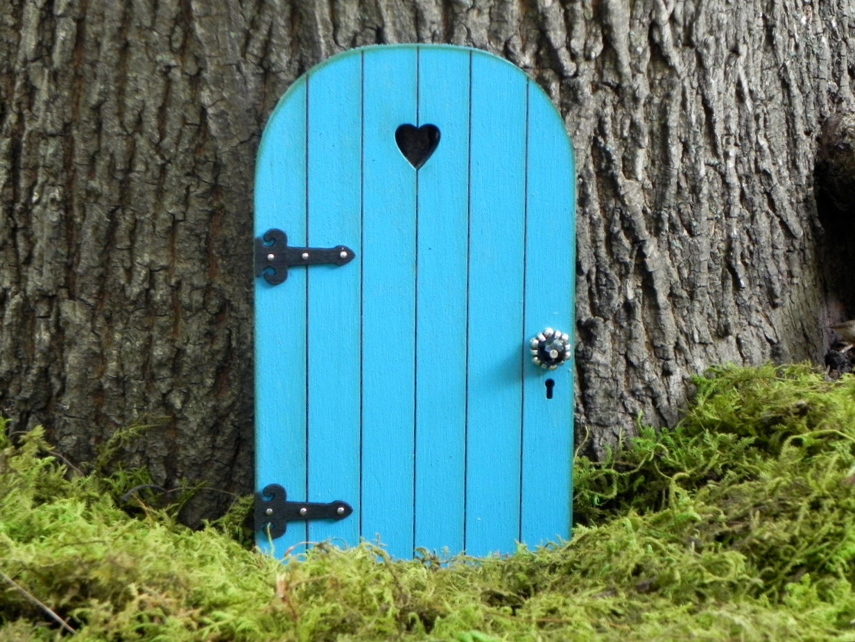 Fairy door fairy garden miniature wood dark robins egg blue for Miniature fairy garden doors