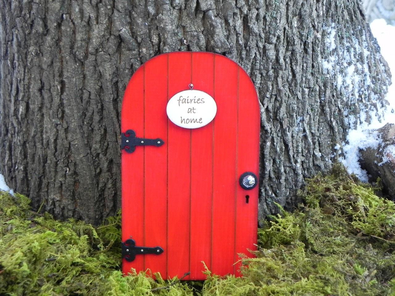 Fairy door red fairy garden miniature with your choice of sign for Red elf door