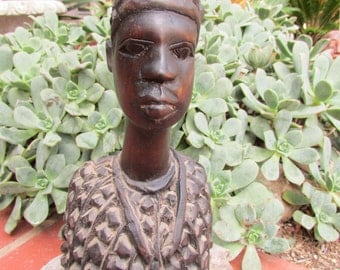 Vintage Carved Wood African Women Bust