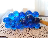 Vintage 1960s Blue Acrylic Grapes