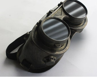 Water Rust Black Metal Finish Steampunk Goggles by Dr. Sharp