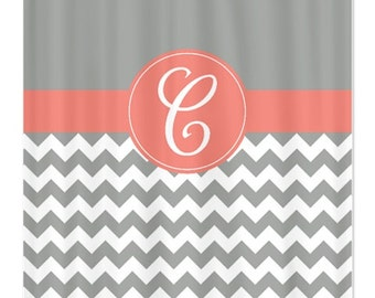 Curtains Ideas coral chevron shower curtain : Chevron shower – Etsy