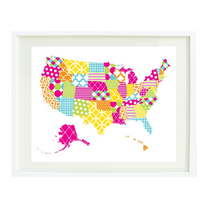 United States of America Map Art Print8x10Patchwork with