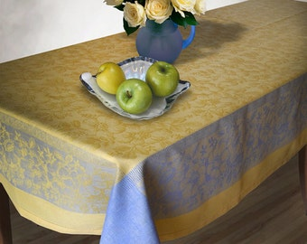 Rectangle Large Tablecloth Yellow Blue Table Cover Table Linens Table  Floral Decor Jacquard Damask Tablecloths Teacher