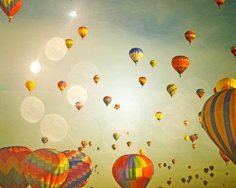 Hot Air Balloons Photography Print 11x14 Fine Art Colorful Sky Whimsical Nursery Landscape Photography Print.