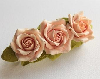 Hair barrette polymer clay flower  Three Cream Roses