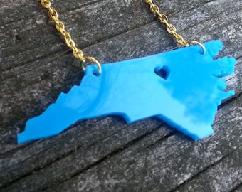 Personalized! Heart over Chapel Hill, North Carolina Acrylic cutout necklace