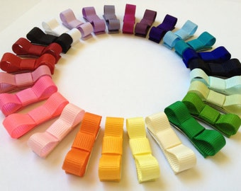 """Baby Hair Bow - 5 Pack Newborn Mini Bow Hair Clips - Choose from 37 Colors - 1.5"""" Non Slip Snap Clip"""