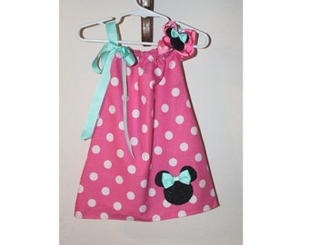 Aqua and Pink Minnie Mouse Dress and Hair Bow Set